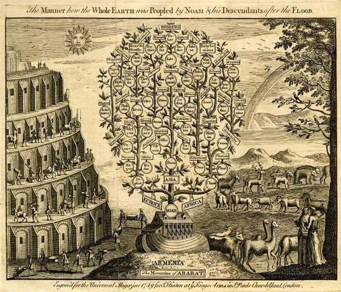Потомки Ноя, генеалогическое дерево, 1749 год
