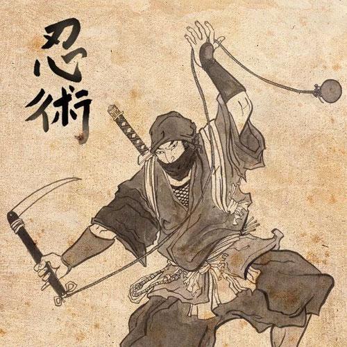 Японский мастер ниндзюцу. Античная гравюра