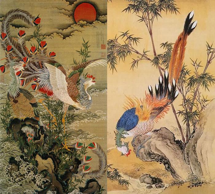 Птица Симург в облике китайского павлина Фэнхуана. Образец античной живописной гравюры