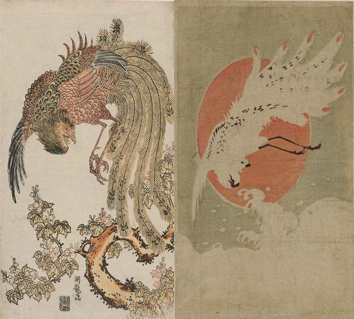 Феникс Фэнхуан на полотнах Исоды Корюсая (1775 г)