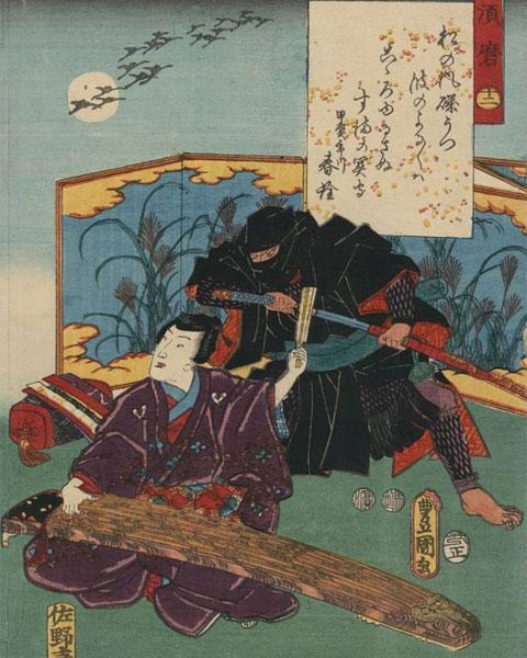 Ниндзя (наемник в пурпурном облачении) и самурай (крадущийся человек в темных доспехах) в работах графиков, иллюстрирующих японский средневековый колорит
