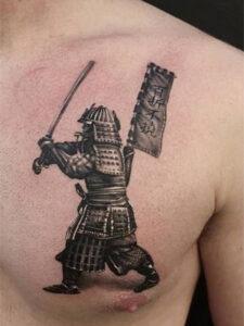 тату самурая грудь
