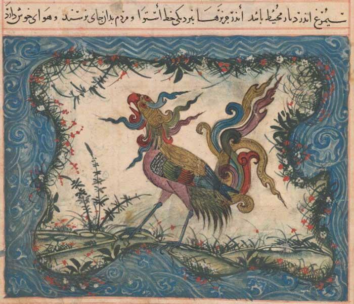 Птица Симург в воплощении утонченного павлина с орлиной головой. Узбекская традиция изображения