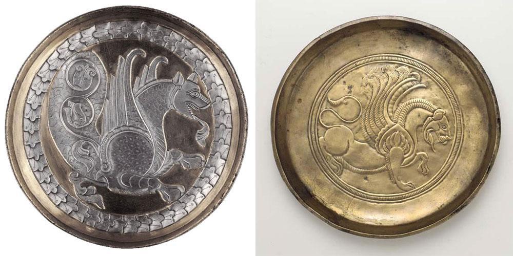 Позолоченные тарелки с хорошо сохранившимся иранским декором в виде зооморфного крылатого существа