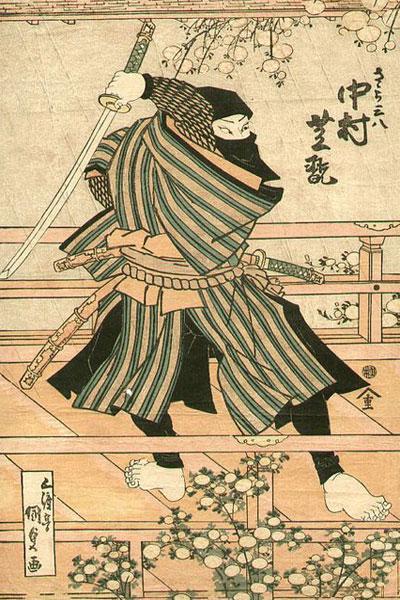 Японская гравюра с изображением ниндзя. Шиноби принадлежности Укие-э