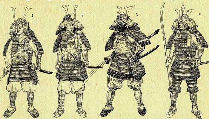 Варианты самурайских воинских одеяний (данные виды экипировки – одежды мужчин-самураев из клана Минамото)