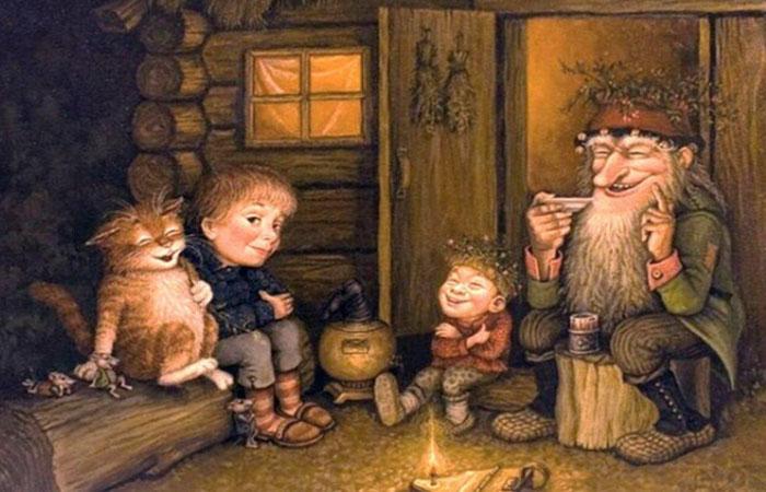 Барабашка в окружении детей и домашних любимцев