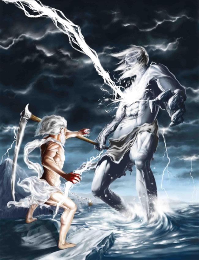 Зевс с помощью серпа убивает собственного отца Кроноса