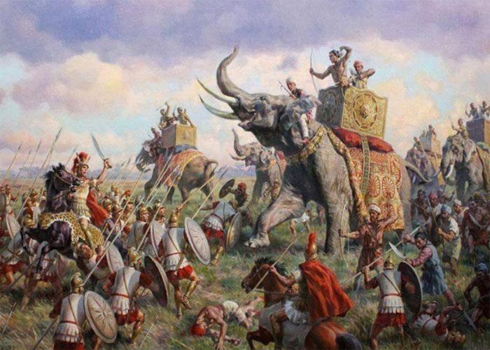 Сражения правителя совместно с индийскими слонами