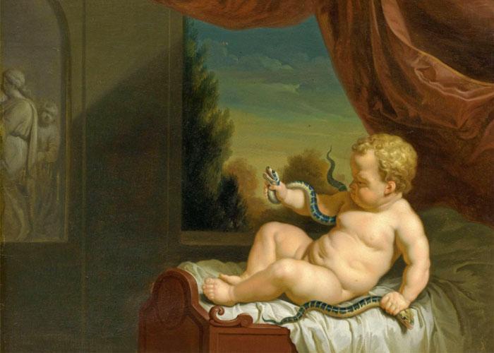 Первая победа новорожденного героя над змеями