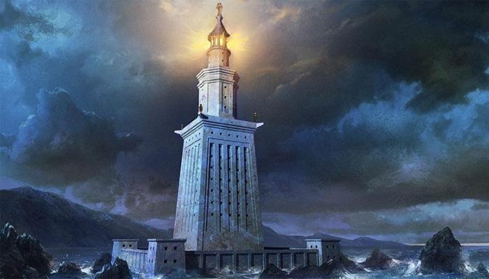Возвышающийся маяк в ночное время суток