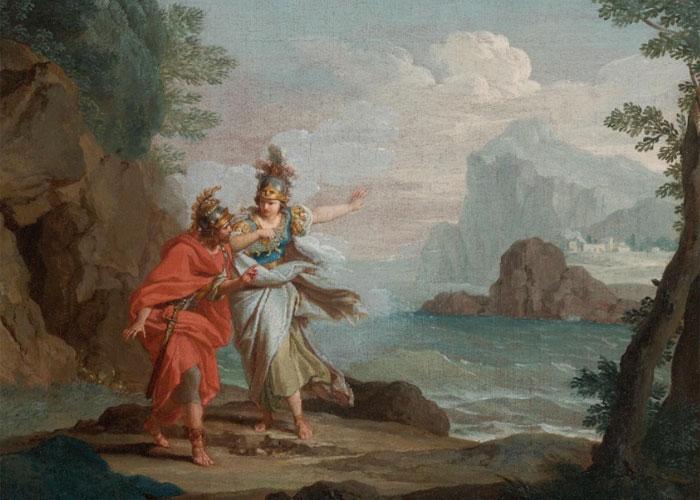 Афина, явившаяся отважному герою, чтобы открыть остров Итака