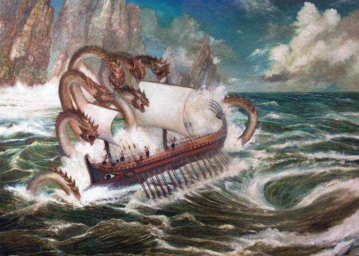 Сражение античного персонажа с морским чудищем