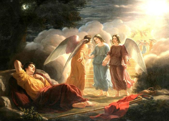Святой Иаков спит на блоке из песчаника и видит сон об ангелах и лестнице, ведущей в небо