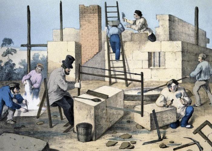 Работа каменщиков