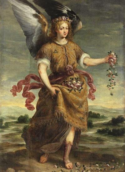Канонический образ архангела Варахиила - молодой мужчина с охапкой роз и двумя крыльями за спиной